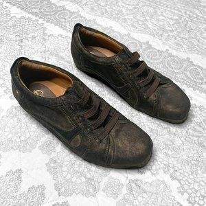 Earthies Ronda Metallic Brown Leather Sneakers